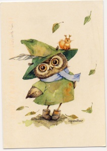 postcard germany owl